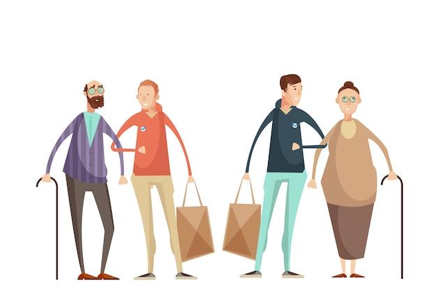Voluntariado, desenho, conceito, com, homens jovens, ajudando, pessoas idosas, exterior, apartamento, caricatura