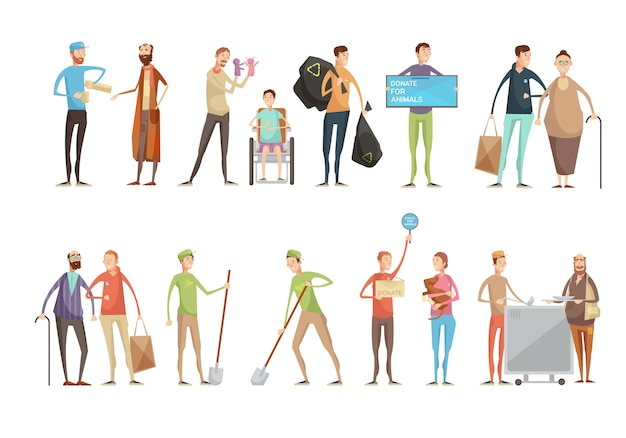 Voluntariado pessoas personagens planas definido com jovens voluntários ajudando animais idosos e deficientes pesso