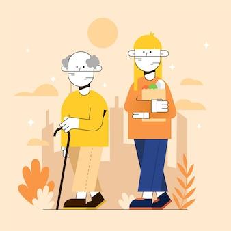 Voluntário ajudando pessoas idosas ao ar livre