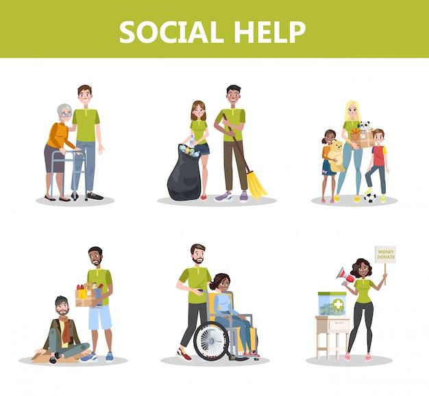 Voluntário ajudar as pessoas a definir.