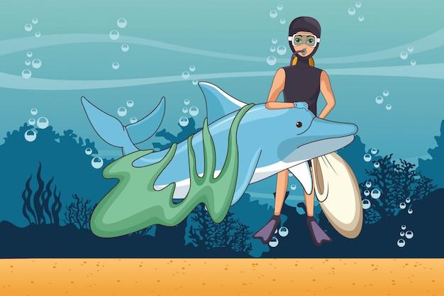 Voluntário de limpeza do mar