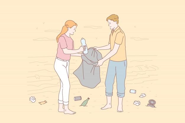 Voluntário, eco, meio ambiente, conceito de poluição.