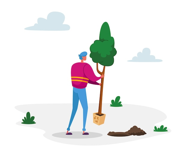 Voluntário salvando a natureza questões ecológicas aquecimento global meio ambiente