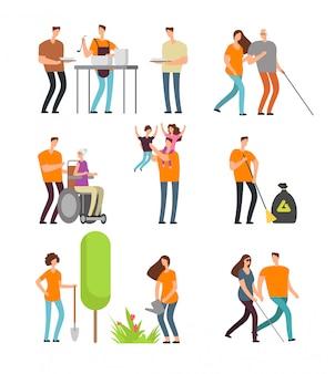 Voluntários ajudam as pessoas e limpam o meio ambiente. personagens de desenhos animados para doação, caridade e voluntariado conceito de vetor