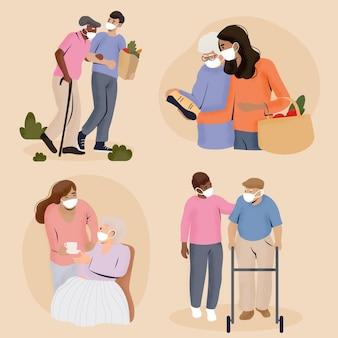 Voluntários ajudando idosos a fazer as malas