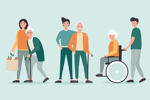 Voluntários ajudando idosos tema