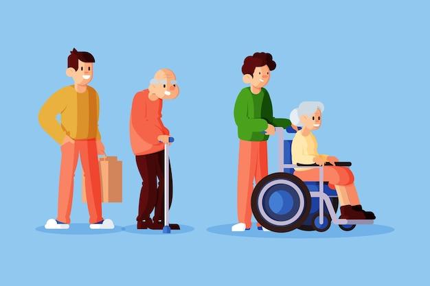 Voluntários ajudando idosos