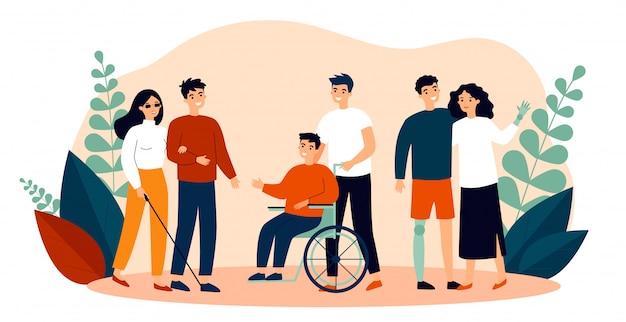 Voluntários ajudando pessoas com deficiência