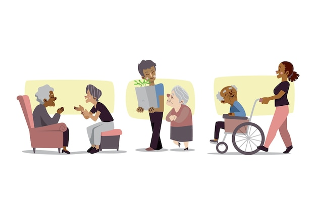 Voluntários ajudando pessoas idosas a definir