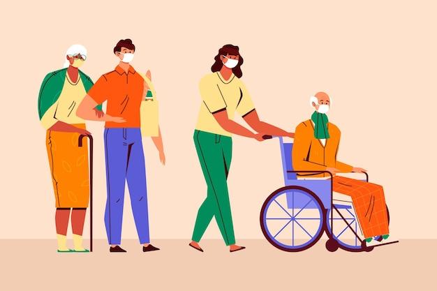 Voluntários ajudando pessoas idosas a projetar