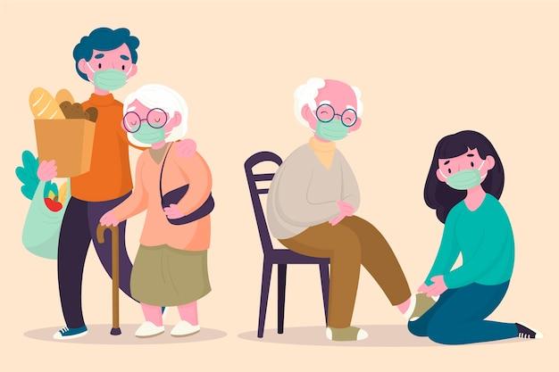 Voluntários, ajudando pessoas idosas conceito