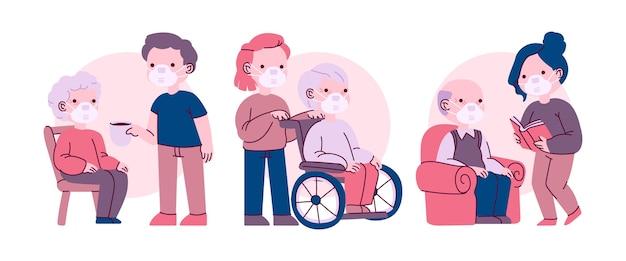 Voluntários ajudando pessoas idosas ilustradas