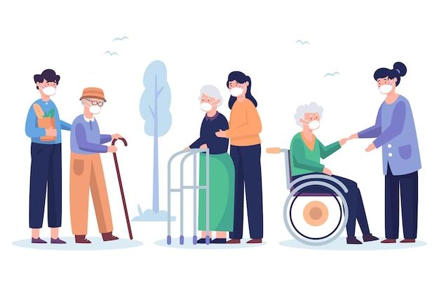 Voluntários ajudando pessoas idosas
