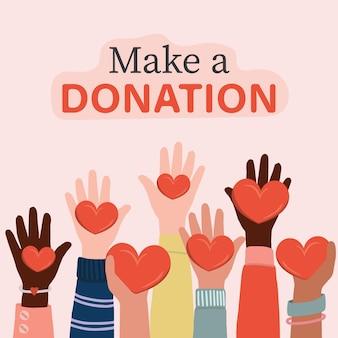 Voluntários, assistentes sociais segurando corações nas mãos. crianças e pessoas internacionais levantando as mãos.