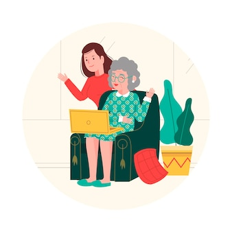 Voluntários atendendo idosos