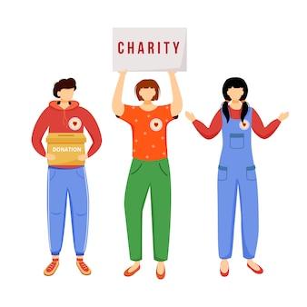 Voluntários coletando ilustração plana de doações.