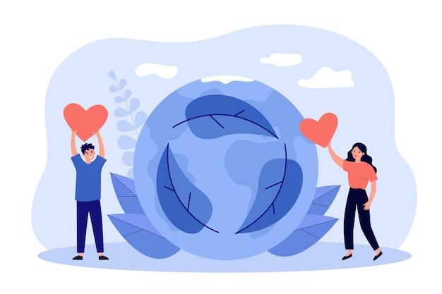 Voluntários com corações vermelhos salvando a natureza e o planeta
