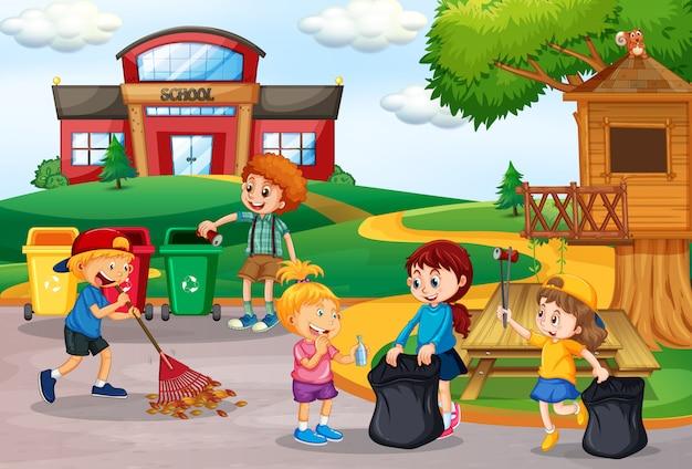 Voluntários crianças coletando lixo na escola