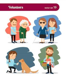 Voluntários cuidam de idosos e deficientes