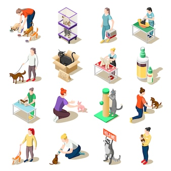 Voluntários de cuidados com animais isométrica ícones