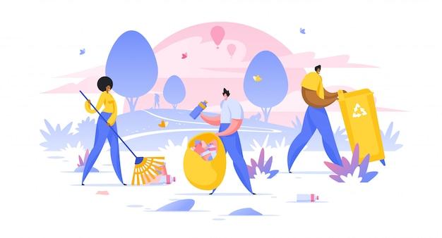 Voluntários de limpeza ilustração plana parque recreativo público