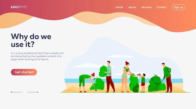 Voluntários ecológicos, modelo de página de aterrissagem no mar