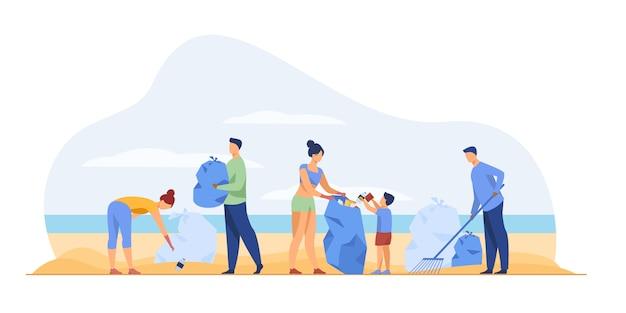 Voluntários ecológicos que limpam o mar
