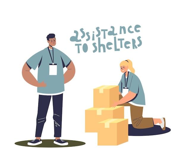 Voluntários embalando caixas de assistência social para abrigos