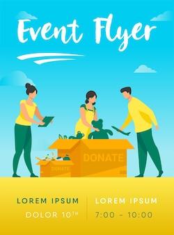 Voluntários embalando modelo de folheto de caixas de doação