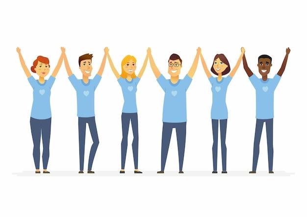 Voluntários felizes de mãos dadas - personagens de desenhos animados pessoas isoladas ilustração em fundo branco. homens e mulheres internacionais vestindo camisetas azuis com um coração. conceito de trabalho social e unidade