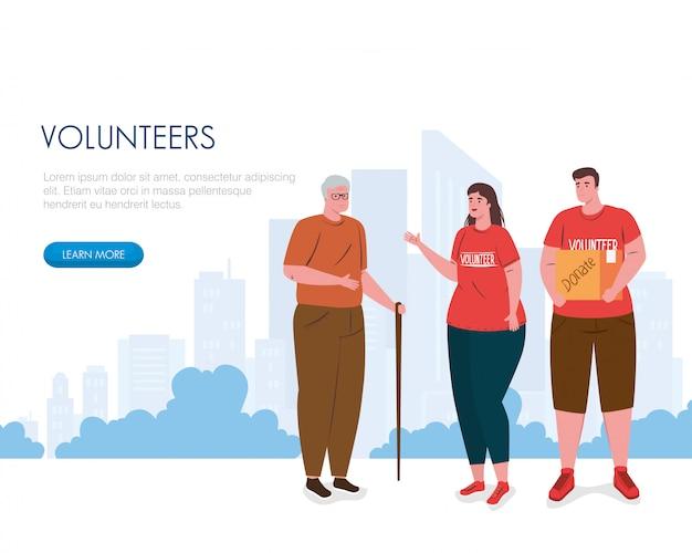 Voluntários homem mulher com caixa de doação e avô