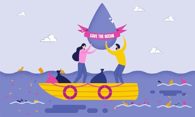 Voluntários limpam a água enquanto no barco.