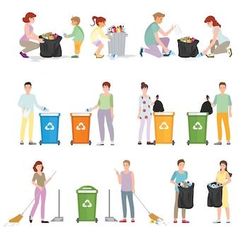 Voluntários limpam resíduos.