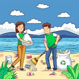Voluntários limpando lixo na praia