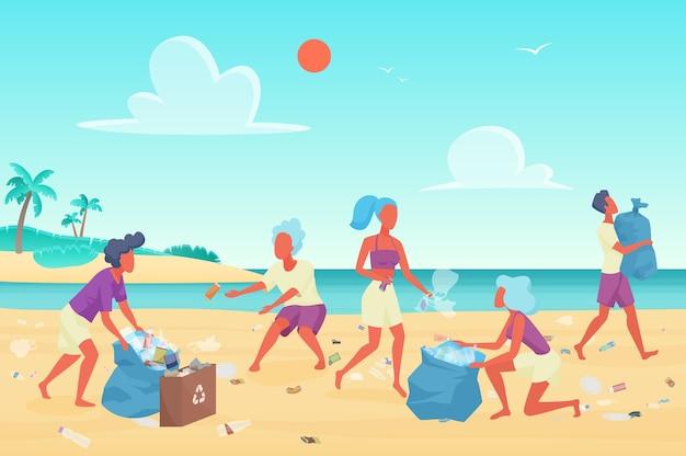 Voluntários limpando lixo plástico na praia, conceito de proteção ambiental