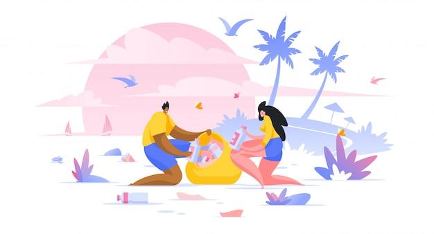 Voluntários, limpeza praia plana ilustração homem e mulher, assistentes sociais, personagens de desenhos animados