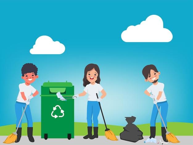 Voluntários mantendo o lixo animação salvar mundo salvar meio ambiente cartaz banner fundo