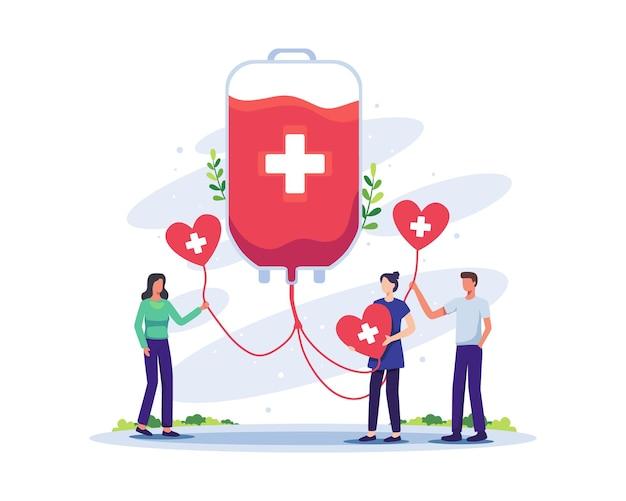 Voluntários, mulher e homem, personagem doando sangue, ilustração do conceito do dia mundial do doador de sangue