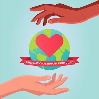 Voluntários mundiais e de direitos humanos. mundo protegido por crimes e violação de seus direitos. mãos e corações
