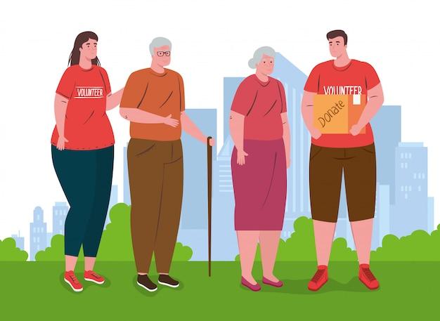 Voluntários pessoas com casal velho, caridade e conceito de doação de assistência social