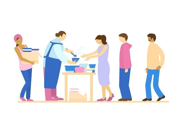 Voluntários servindo comida para pessoas necessitadas caridade e ajuda humanitária