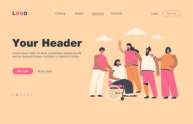 Voluntários sorridentes ajudando pessoas com deficiência isolada página de destino plana. personagem de desenho animado apoiando homens e mulheres com deficiência. conceito de voluntariado, assistência e deficiência