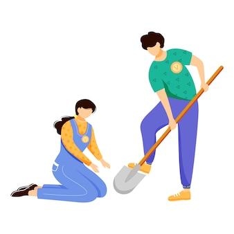 Voluntários trabalhando juntos ilustração vetorial plana.