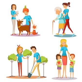 Volunteer people help coleção plana dos desenhos animados