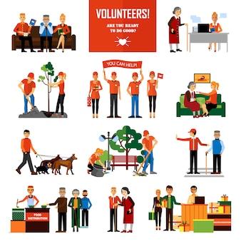 Volunteers people decorative icons set