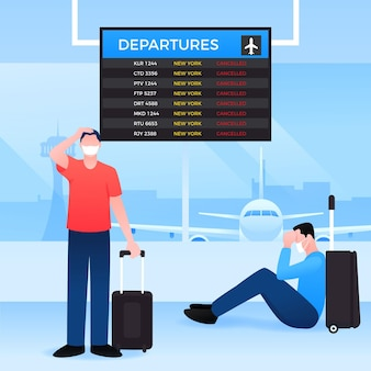 Voo cancelado com pessoas no aeroporto