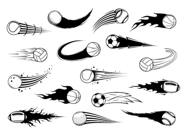 Vôo de bolas esportivas com trilhas de movimento
