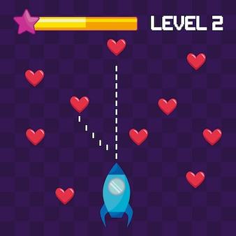 Voo de foguete de videogame clássico e corações