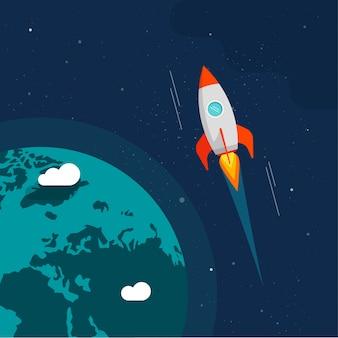 Voo de foguete no espaço perto da ilustração da órbita terrestre
