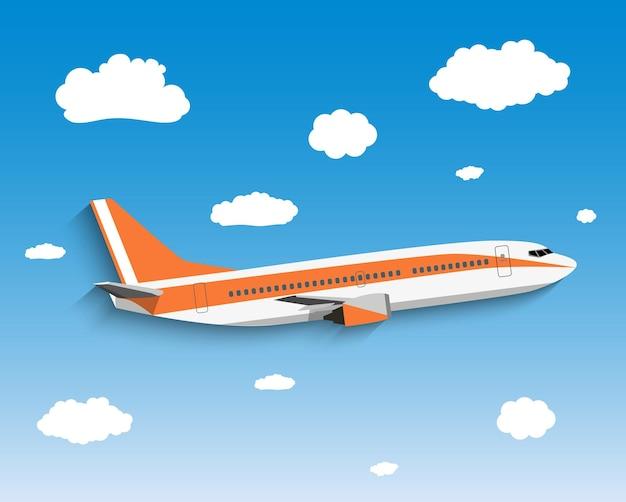 Voo do avião no céu.
